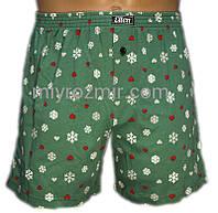 Зеленые боксерки мужские семейные трусы с новогодним принтом МВХ 001/008 Ellen