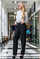 Женские деловые брюки на высокой талии с карманами. Прямые. Черные