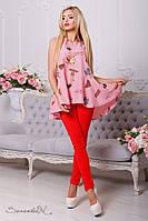 Женская рубашка-туника с забавным принтом. Розовая