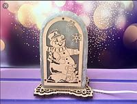Соляная лампа, ночник, светильник Снеговик и мышка