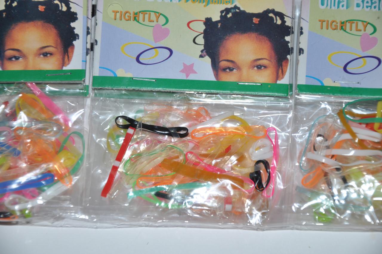 Резинки для волос силиконовые в пакетах разноцветная