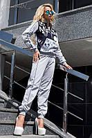 """Женский трикотажный спортивный костюм с принтом """"Mickey"""". Серый с синим"""
