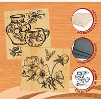 """Набор для выжигания по дереву 2 рисунка """"Цветы"""" и """"Посуда""""  Артикул: 96227"""