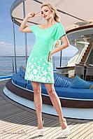 Летнее короткое платье мини выше колена трикотажное с морским принтом. Голубое