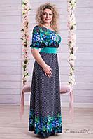 Летнее синее длинное платье макси с короткими рукавами и поясом, в горошек с принтом голубых цветов