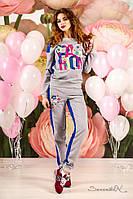 Женский трикотажный спортивный костюм с принтом. Двухцветный.Серо-синий