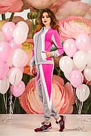 Женский трикотажный спортивный костюм с вставками. На молнии. Малиновый, розовый с серым