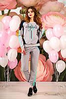 Женский трикотажный  костюм, спортивный, с лампасами. Серый с голубым, фото 1