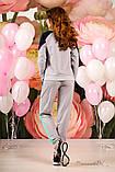 Женский трикотажный  костюм, спортивный, с лампасами. Серый с голубым, фото 2