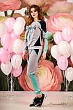 Женский трикотажный  костюм, спортивный, с лампасами. Серый с голубым, фото 3
