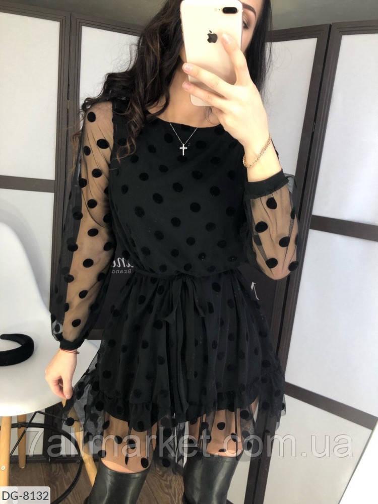 """Платье женское сетка в горох модель 129 (42-44, 44-46) """"BUTIK"""" недорого от прямого поставщика"""