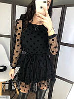"""Платье женское сетка в горох модель 129 (42-44, 44-46) """"BUTIK"""" недорого от прямого поставщика, фото 1"""