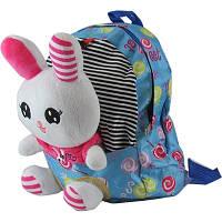 Рюкзак детский Медвежонок-Зайка текстиль с игрушкой 00-195 (10878)