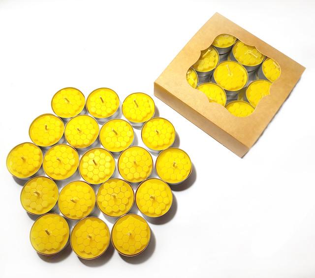 Набор чайных свечей из пчелиного воска в гильзе 18 шт apimag