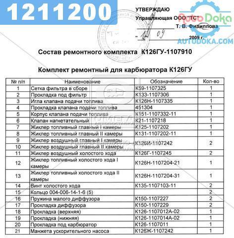 ⭐⭐⭐⭐⭐ Ремкомплект карбюратора К-126ГУ (17 наименований ) УАЗ (производство  ПЕКАР)  К126ГУ 1107910