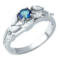 Серебряное кольцо Бьянка с топазом мистик и фианитами 000074784 18.5 размер
