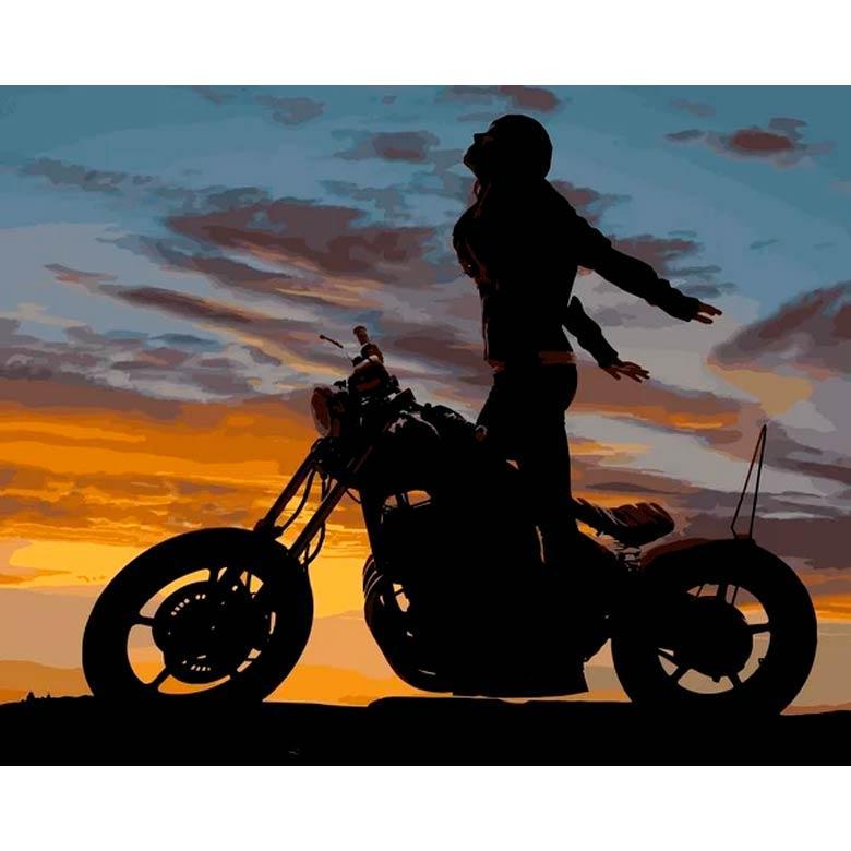 Картина раскраска по номерам на холсте - 40*50см Mariposa Q2218 Мотоциклистка
