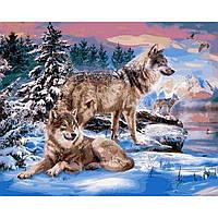 Картина раскраска по номерам на холсте 40*50см Babylon VP1024 Волки на берегу реки