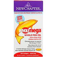 Жир Аляскинского Лосося 1000мг, Wholemega, Alaskan Salmon Oil, New Chapter, 180 желатиновых капсул