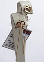 Золоті сережки-протяжки у вигляді сердечка з білим цирконієм, фото 1