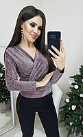 Блузка женская нарядная с люрексом бордового цвета, фото 1