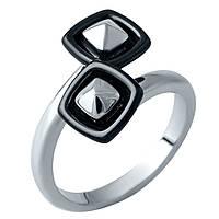Серебряное кольцо Кандела с черной керамикой 000074184 16.5 размер