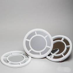 Набор из трех круглых настенных зеркал (белый цвет), 26.5x26x7 см