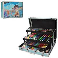 Набор для творчества MK 2459(Blue) Синий 3 яруса, фломастеры, карандаши,.крас, в чемод,38-29-10см