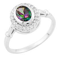 Серебряное кольцо Николина с топазом мистик и фианитами 000055639 18 размер