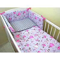 Комплект в детскую кроватку для новорожденных Хатка 6 в 1 Балерина с серым Super (1506)