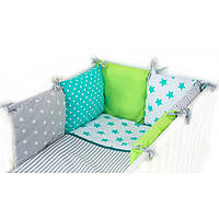Комплект в детскую кроватку для новорожденных Хатка 9 в 1 Утро зеленый с мятным Super (1509)