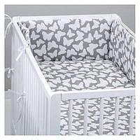 Комплект в детскую кроватку для новорожденных  Хатка 6 в 1 Бабочки Premium (1517)