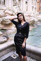 """Приталенное кожаное миди-платье """"Antonia"""" на кнопках (3 цвета), фото 2"""