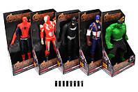 Супергерои муз. и свет. эффект 5 видов (Халк,Капитан Америка,Спайдермен,Бетмен ,Железный человек 22*9,5*40см /48-4/