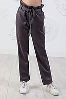 Брюкиподростковые для девочки замшевые с поясом7-12лет, серого цвета