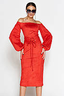 Женское замшевое платье-миди с открытыми плечами (Кристалjd)