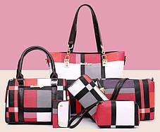 Стильный оригинальный набор женских сумок в клетку 6в1, фото 3