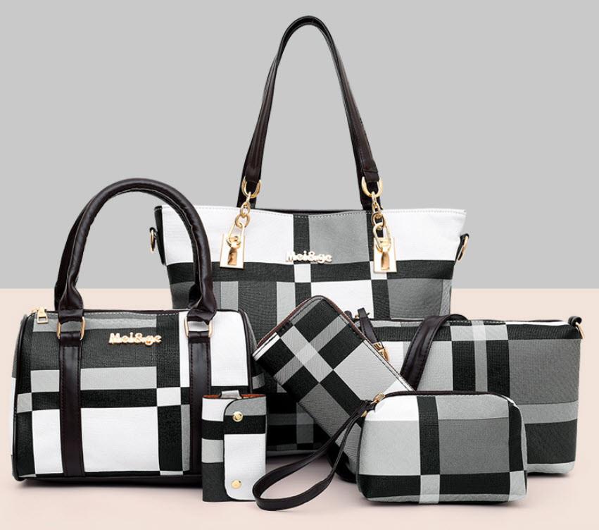 Стильный оригинальный набор женских сумок в клетку 6в1
