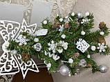 Новогодняя ёлка 40см , украшенная ёлка на новый год 2019, декоративная маленькая ёлка на лесном срубе, фото 7