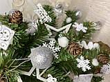Новогодняя ёлка 40см , украшенная ёлка на новый год 2019, декоративная маленькая ёлка на лесном срубе, фото 4