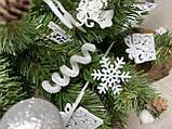 Новогодняя ёлка 40см , украшенная ёлка на новый год 2019, декоративная маленькая ёлка на лесном срубе, фото 9