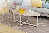 """Овальный столик в стиле лофт """"Зоя"""" из металла и натурального дерева"""