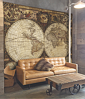 Рельефная 3D карта мира времен Колумба 200 см х 155 см