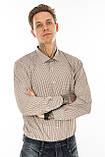 Мужская рубашка Gelix 1207004 в клетку коричневая, фото 2