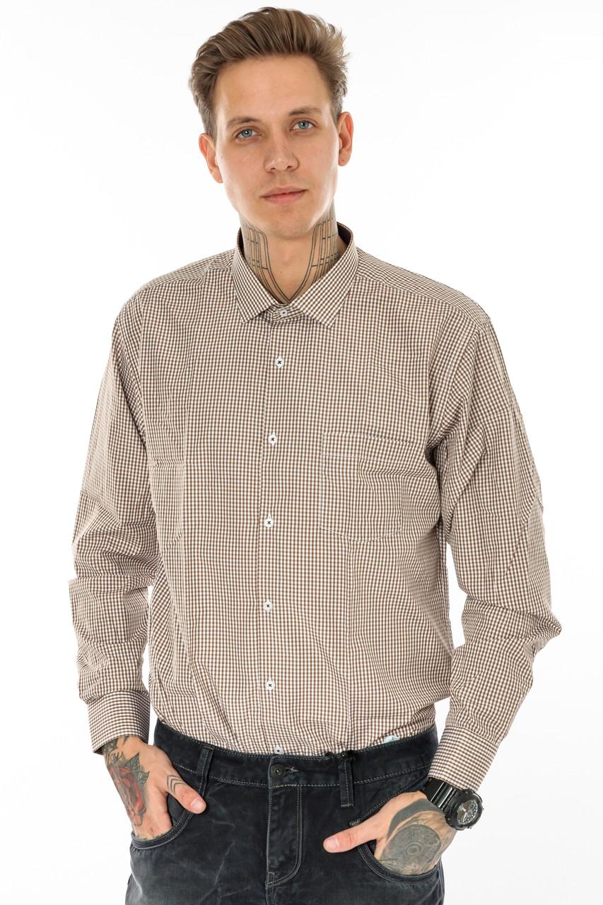 Мужская рубашка Gelix 1207004 в клетку коричневая