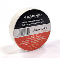 Изолента белая RADPOL PVC 20м 0,13х19мм (-12  +80°C)