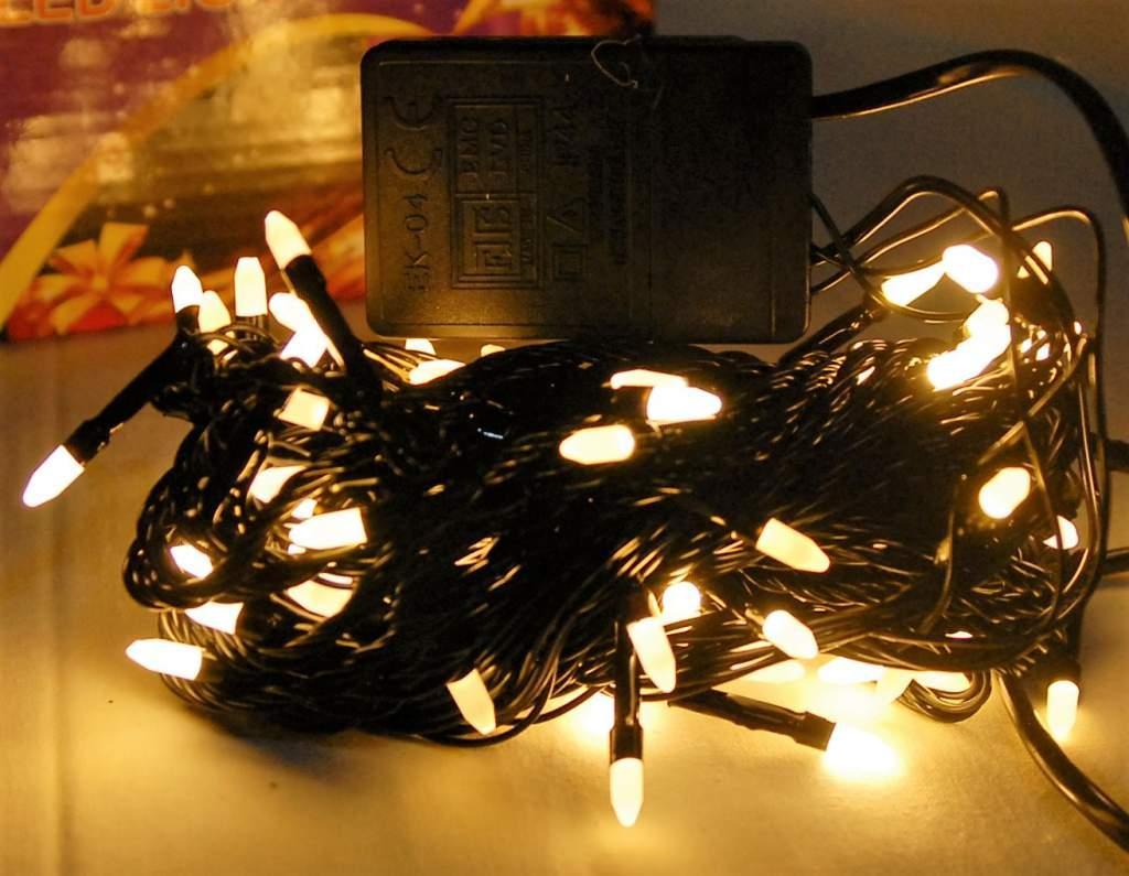 Гирлянда Конус 200 LED, чёрн. шнур, золотой тёплый свет