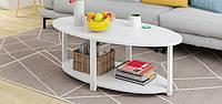 """Овальный столик в стиле лофт """"Зоя"""" белый с натуральным деревом+металл"""