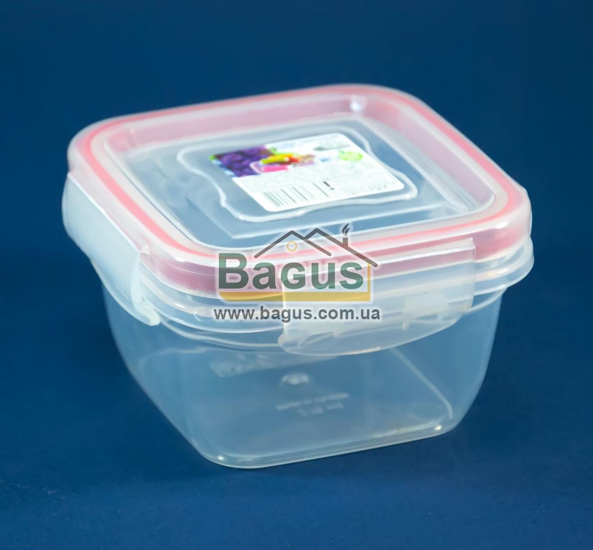 Емкость (судок) пищевая 0,275л 9,9х9,9х5,8см пластиковая (крышкой с зажимами) Fresh Box Квадратный Ал-Пластик