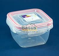 Емкость (судок) пищевая 0,275л 9,9х9,9х5,8см пластиковая (крышкой с зажимами) Fresh Box Квадратный Ал-Пластик, фото 1